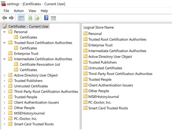 Certificates - Current User