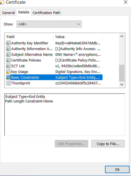 Subject Type as End Entity - Introduction to Certificate Extension - Basic Constraints